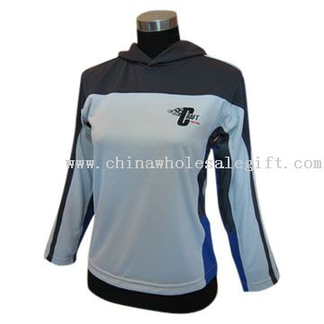 Description: 100% polyester women's long sleeves sportswear.