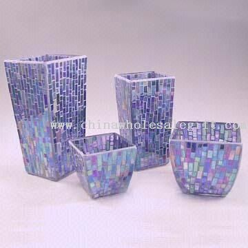 Craft Ideas Vases on Blue Mosaic Glass Candle Holders And Vases