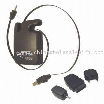 USB Retractable Mobile Phone Battery Charger with Universal Mobile Plug Adapters for Computer User