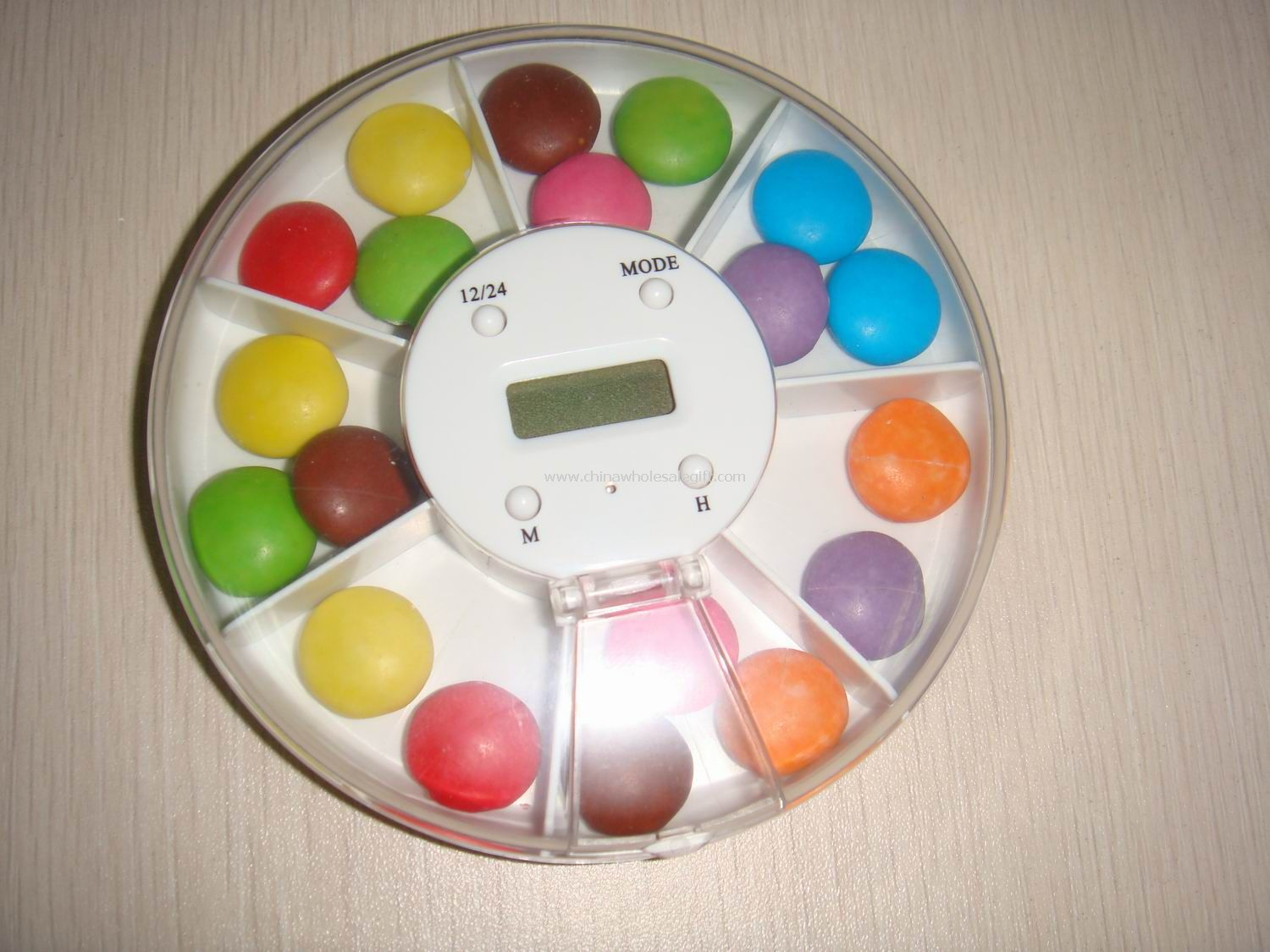 Compartments Pill Box with Time&Alarm