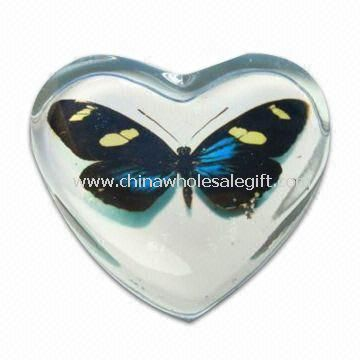 Clear Glass Paperweight in Heart Shape