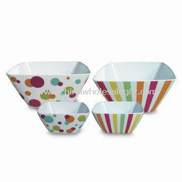 Melamine Salad Square Bowl with Heat Resistance, Available in Various Designs