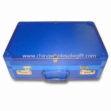 Aluminum Attache Case with Blue Stripe ABS Surface
