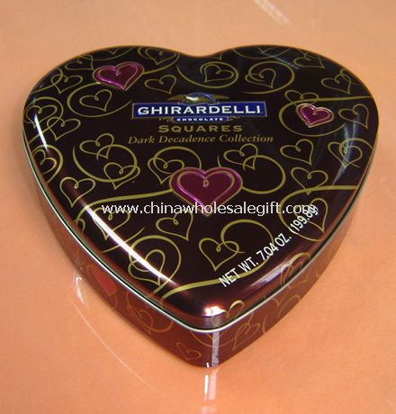 Chocolate Heart Shaped Tin Box