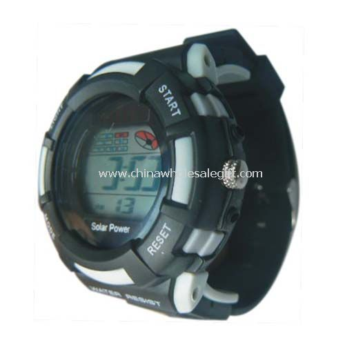 Solar digital watch