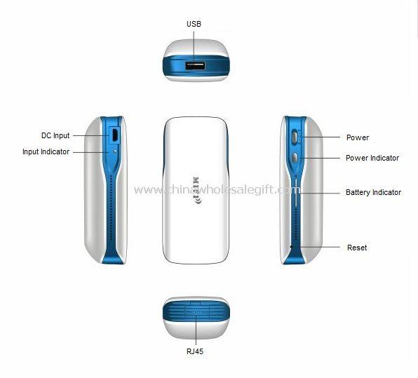 Mini Portable 3G Router inalámbrico con Ethernet 5200mA Banco de potencia