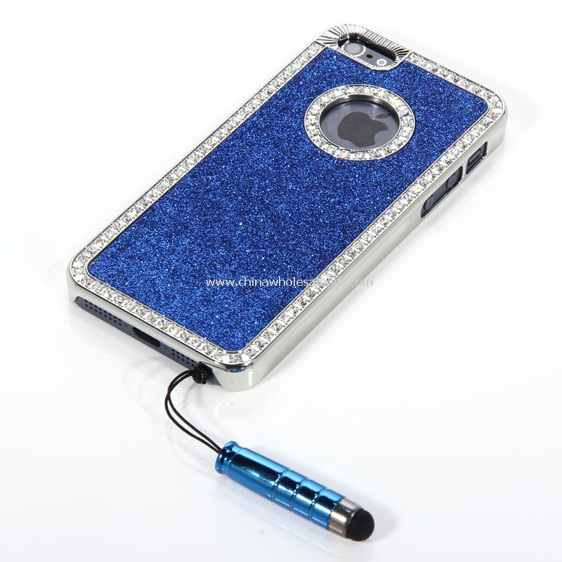 Brillo Bling cristal diamante cromo duro caso para iPhone5 con lápiz
