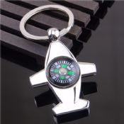 Airplane Shaped Metal Compass Keychain images