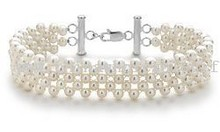 Sterling Silver Freshwater Cultured Pearl Woven Bracelet images