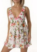 Betsey Johnson Intimates: Polychiffon smocked strap babydoll with g-string images
