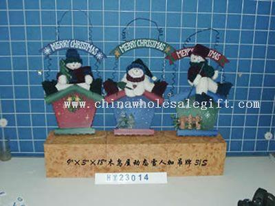 hanging wooden bird house snowman head3/s