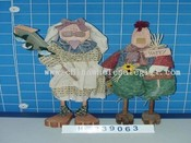 standing hare and cock with wooden legs 2/s images