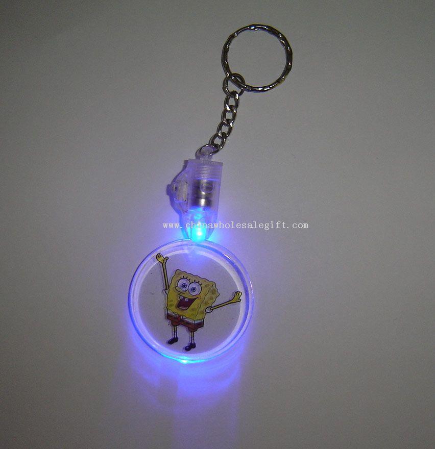 Led Keychain Lights With Round Pendant Flashing Keychain
