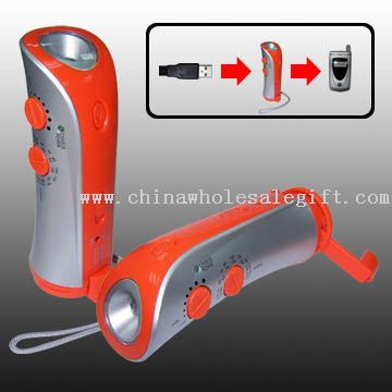 Crank Dynamo Flashlight with Radio and Mobile Phone Charger