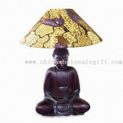 Desk Lamp with Sitting Buddha Wooden Sculpture images