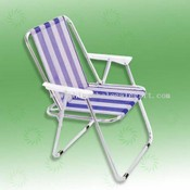 Spring foldable chair with blue & white fabric images