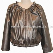 Womens Metallic PU Leather Jacket images