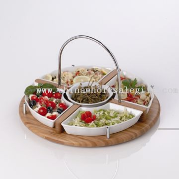 multi trays holder with 5pcs porcelain bowls