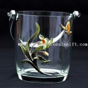 Pewter Ice Bucket with Butterfly Design images