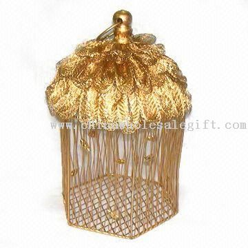 Christmas Metal Wire Box With Exotic Decorations Metal