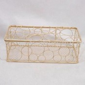 Circle Metal Wire Basket in Lasting Gold Finish images