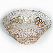Metal Wire Basket in Sprayed Gold Finish images