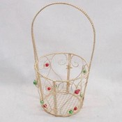 Metal Wire Basket with Bead Decoration images