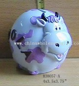 Glazed Polyresin Purple Cow Bank images