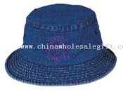 Stone washed denim bucket hat images