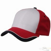 Low Profile Athletic Mesh Caps / White Red images