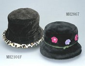 Artificial fur winter hat with flowers images