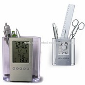Transparent LCD Clock with pen box images