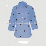 Blue Chambray 3/4 Sleeve Shirt w/embroidered football images