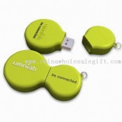 Green Recycle Round Promotional USB Flash Drive with Embossed 3D Logo and Plug-and-play Function images