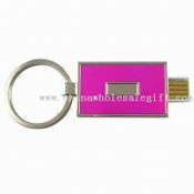 Plug-and-Play Retractable Keychain USB Flash Drive with Capacity of 64MB to 8GB images