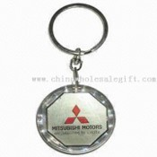 Round-shaped Waterproof Solar-powered Keychain with LCD Flashing Logo images