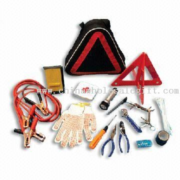 First-aid Kit with 1 Pair Safety Gloves and 1-piece Warning Triangle