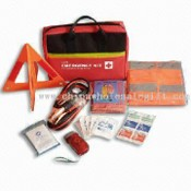 First-aid Kit for Car with 1 Pack Booster Cable and 1-piece Emergency Blanket images