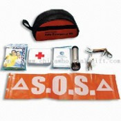 First-aid Kit for Car with 1-piece Emergency Poncho and 1-piece Torch images