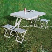 Folding Aluminum Picnic Table with Four Tools images
