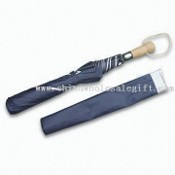 Two Folding Umbrella with Anti-UV Coating and Wooden Handle images