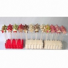 Wood and Felt Star Stick Set of 24 Christmas Decoration of 6.5cm Star images