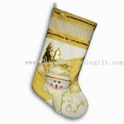 20-inch Cream and Gold Colored Christmas Stockings images