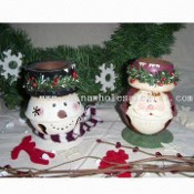 Christmas Candle-holder with Santa or Snowman Bell images