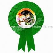 Christmas Rosette Made of Single-faced Polyester Satin Ribbon with Ruffle-pleated Oval images