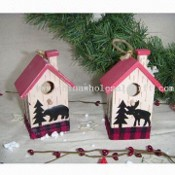Wooden House with Christmas Theme in Pink images