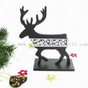 Wooden Reindeer Stand Piece with Christmas Theme images