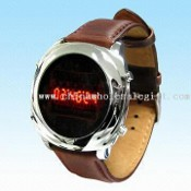 Stylish LED Watch with Metallic Shell and Durable Leather Strap images