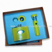 Three-piece Stationery Set Includes Flagon and Keychain with Compass images