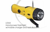 Hand power flashlight w/mobile charger and radio&alarm images